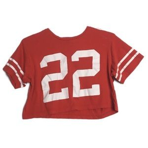 Red Sports Inspired Crop Top T-shirt